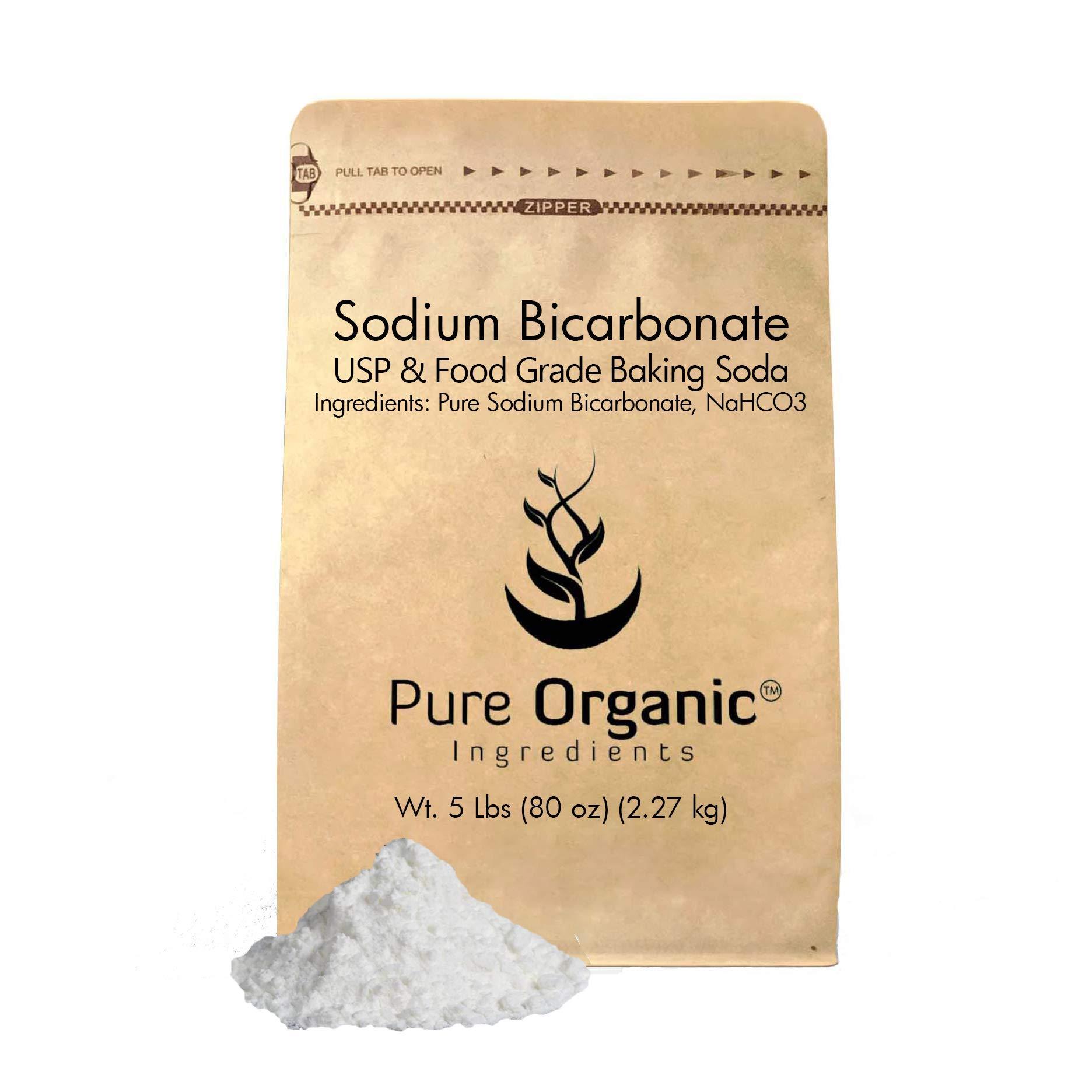 Pure Organic Ingredients Sodium Bicarbonate, Baking Soda, 5 lb, Highest Purity, Food Grade, Eco-Friendly Packaging