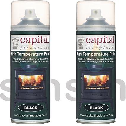X2 latas de capital estufa pintura 650 grado C resistencia al calor negro mate Spray de