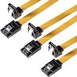 SET - 3x câble de données PREMIUM Poppstar SATA 3 DD-SSD à 1x fiche Clip droit coudé de 90 degrés-rétrocompatibilité avec les anciennes versions S-ATA-SATA 1 et 2- Longueur -0,5m-transfert de données rapide avec jusqu'à 6 Gb-s -couleur-jaune