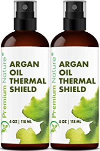 Argan Oil Hair Protectant Spray - Thermal Heat Flat Iron Straightening Protectors For Styling Treatment Against Hot Blow Hair Dryer Natural Prevents Damage Dryness Breakage Split Ends Protection Spray