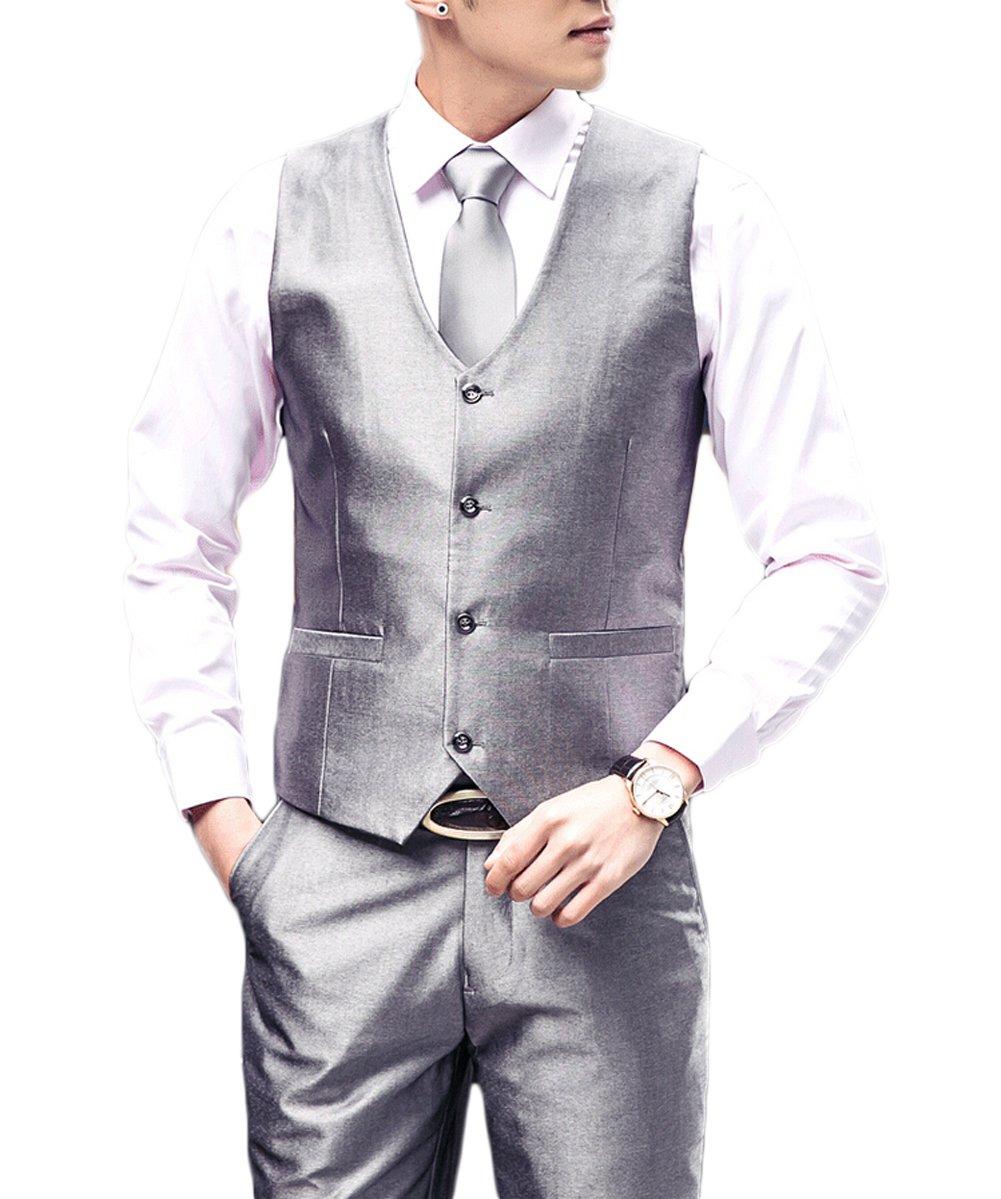 Love Dress Men's Solid Suit Vest and Pant Men Party Gown