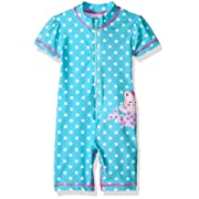 Kiko & Max Baby Girls Full Body Rash Guard Swim Suit Coverall Bodysuit, Blue Mermaid, 18M