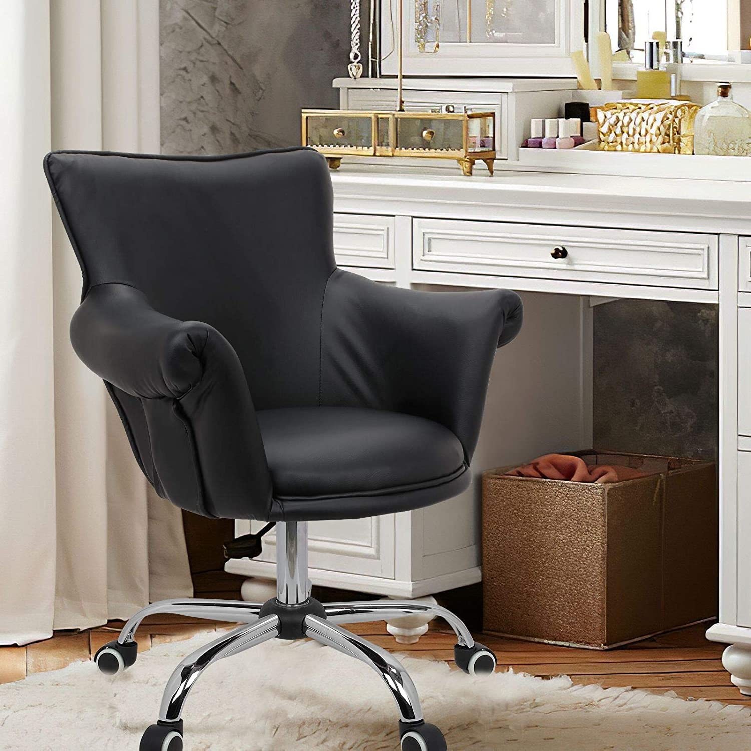 Magshion Office Desk Chair Bar Stool Beauty Nail Salon Spa Vanity Seat  (PULeather Black), PU Leather