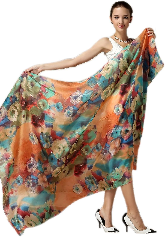 Women Silk Scarf Oblong...