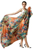 Women Fashion Silk Scarf Oblong Floral Oversize Soft Shawl Beach Wrap