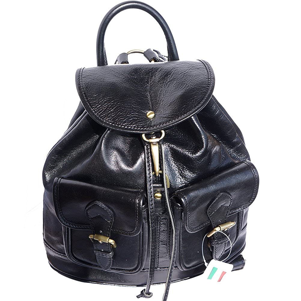 (black) - Backpack bag with two large outside pockets 6554 B00VRTZE4A