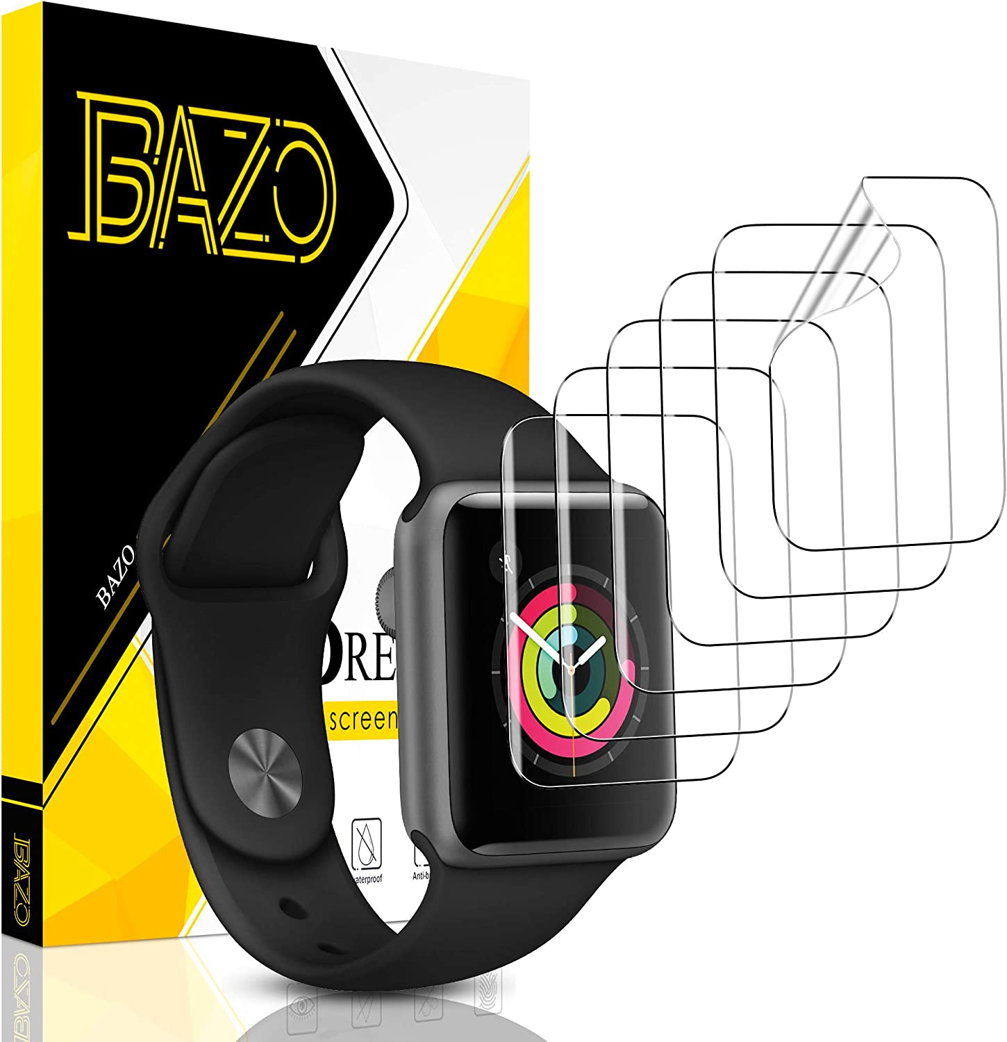 [6 Pack] BAZO Screen Protector for Apple Watch Series 3/2/1 38MM, Soft Flexible TPU Scratch Resistant HD Clear iWatch Film