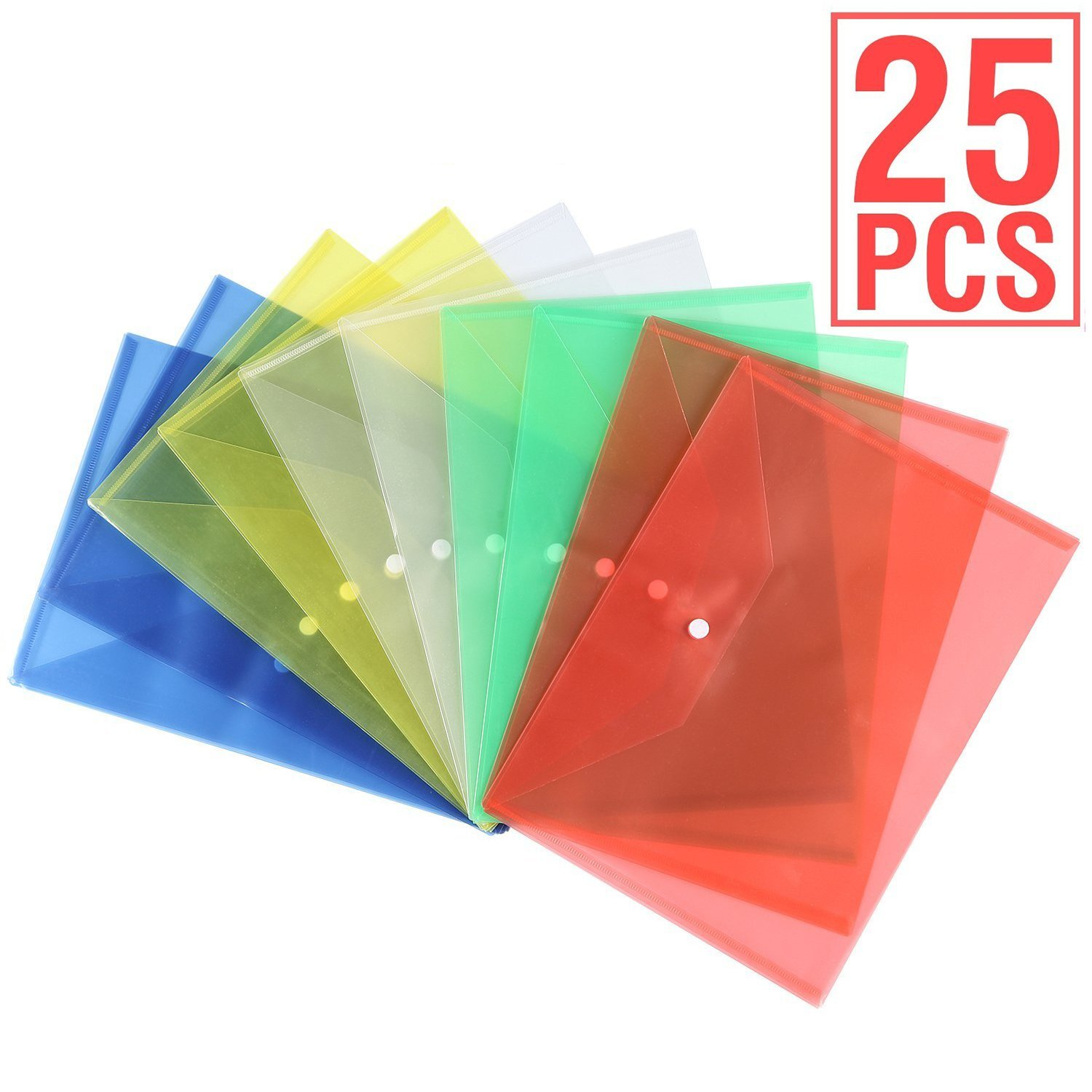 Clear Document Folder with Snap Button, Closure Plastic Folders, Multicolor Poly Envelope, US LETTER/A4 Size, Transparent Envelopes Designed for School, Home, Work and Office Organization (25 PACK)