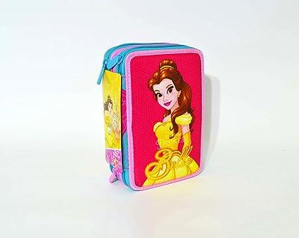 Seven - Princesas Disney - Estuche para colores de La Bella y la Bestia, lleno, con 3 cremalleras, 2017/18: Amazon.es: Oficina y papelería