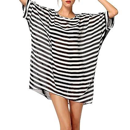 befb2ecafc Beautyer Striped Chiffon Beachwear Bikini Blouse Swimwear Cover Up Bathing  Suit Dres