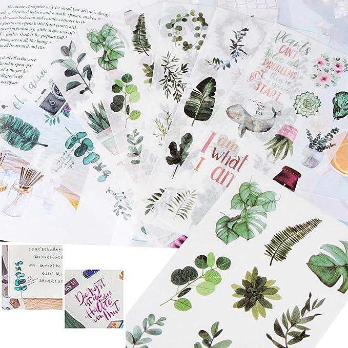 FLOFIA 30 Blatt Sticker Scrapbooking Pflanzen Aufkleber Blumen Sticker Essen Scrapbook Aufkleber Notizbuch Tagebuch Fotoalbum Kalender