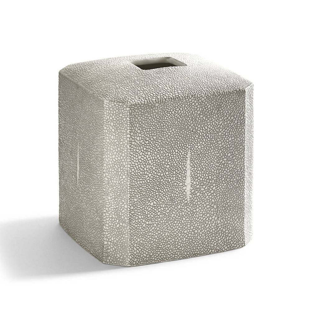 Tissue Holder, Kassatex Shagreen Bath Accessories | Fine Embossed Porcelain