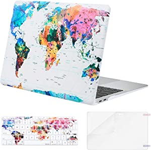 MOSISO MacBook Air 13 inch Case 2020 2019 2018 Release A2179 A1932 Retina Display, Plastic Pattern Hard Shell&Keyboard Cover&Screen Protector Only Compatible with MacBook Air 13, World Map White Base