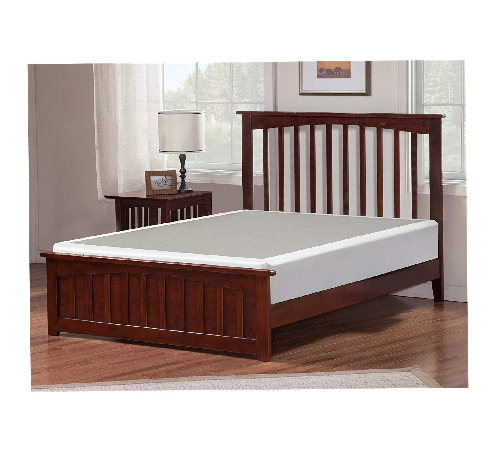 Wood & Style 4-Inch Queen Size Box Spring Low Profile Mattress Foundation/Strong Structure, 59x79 Comfy Living Home Décor Furniture Heavy Duty by Wood & Style