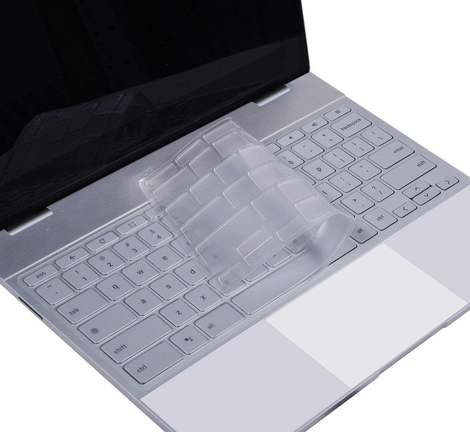 "CASEBUY Ultra Thin Soft Clear Keyboard Cover for Google Pixelbook 12.3"" Touch-Screen Chromebook(2019/2018/2017 Released) Soft-Touch TPU Keyboard Skin, US Layout"