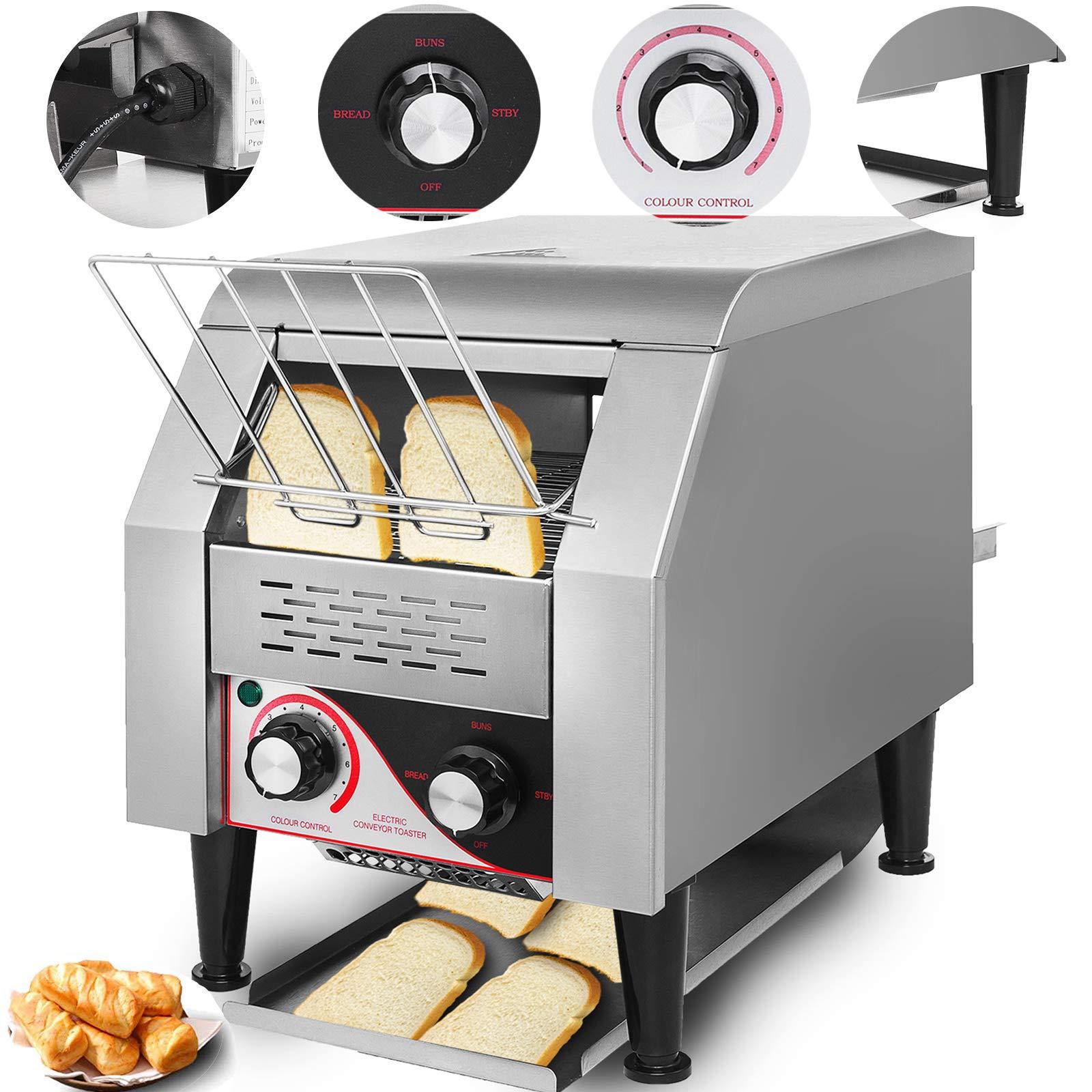 VEVOR 110V Commercial Conveyor Toaster 150PCs per Hour 1350W Heavy Duty Stainless Steel for Restaurant Breakfast, Sliver by VEVOR
