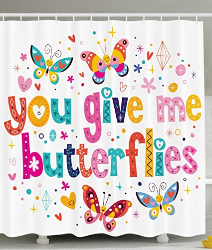 Ambesonne Butterfly Decor Girls Bathroom Shower Curtain Love Valentines Quote Hearts Butterflies Flowers Romantic Cartoon