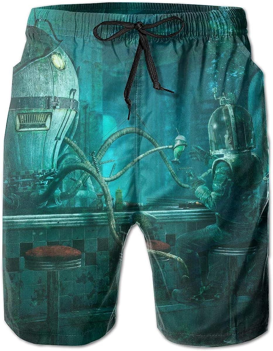 Swim Trunks Summer Steampunk Octopus Video Game Art Nauticos Beach Shorts Bolsillos Boardshorts para Hombres