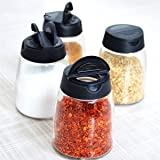 Hineway Double Lid Seasoning Box, SaltandPepperShakers Barbecue Spice Jar Condiment Glass Bottles Pepper Shakers Kitchen Supplies (2 Piece, Black)