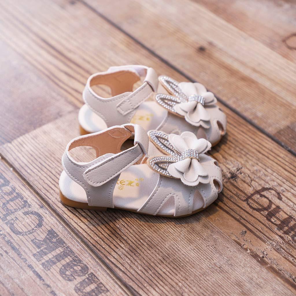 Baby Sandalen M/ädchen 0-4 Jahre Neugeborenes Baby Lauflernschuhe Sommer Leder Geschlossene Strand Sandalen Bowknot Hausschuhen Anti-Rutsch Weiche Sohle Schuhe mit Klettverschluss 20-26 Zhen