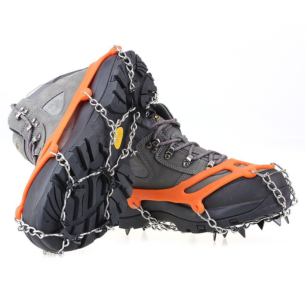 abcGoodefg One Pair Anti Slip 8 Teeth Ice Claws Crampons Non-Slip Shoes Cover Shoe Chains with Stainless Steel Chain Snow for Outdoor Ski Hiking Climbing Dig Ect. (Orange)