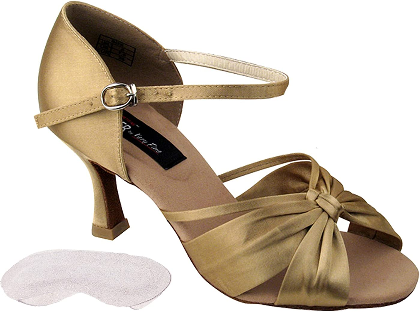 Very Fine Womens Salsa Ballroom Tango Dance Shoes CD2150 Bundle with Back-of-Heel Cushions 3 Inch Heel