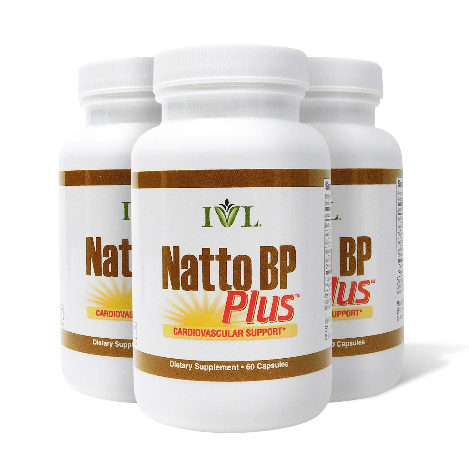 IVL NattoBP Plus Cardiovascular Support Supplement, 60 Capsules per Bottle (Pack of 3) by IVL