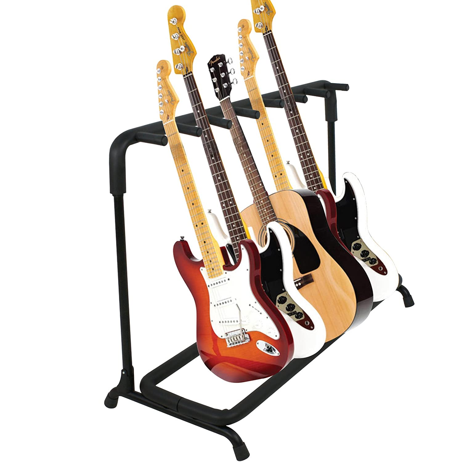 Smartxchoices Guitar Stand Black 7 Holder Folding Steel Stand Rack for Multiple Acoustic Electric Guitars Basic Bass, Display Storage Organizer Band Stage