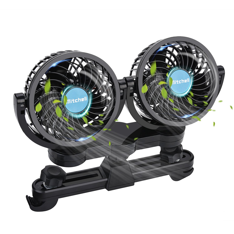 Fansport Car Fans,12V Car Fans Rrear Electric Auto Cooling Fan 360 Degree Rotatable 2 Speed Dual Head Rear Seat Air Fan for Rear Seat Passenger