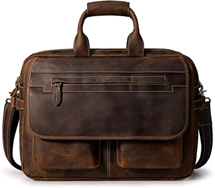 "Augus Mens Crazy Horse Leather Briefcase Business Laptop 16.5/"" Handbag Brown"