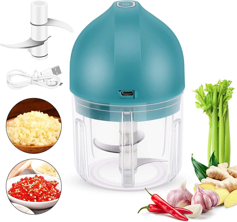 Mini Electric Garlic Chopper, Dheera Portable Cordless Garlic Mincer Food Chopper Blender to Chop Fruits Vegetables Garlic Onion for Kitchen (250ML)