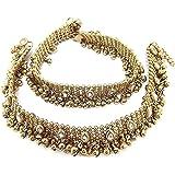 Charms Diva Antique Gold Kundan Payal Anklets for Girls & Women (Golden)(cr0245eef)