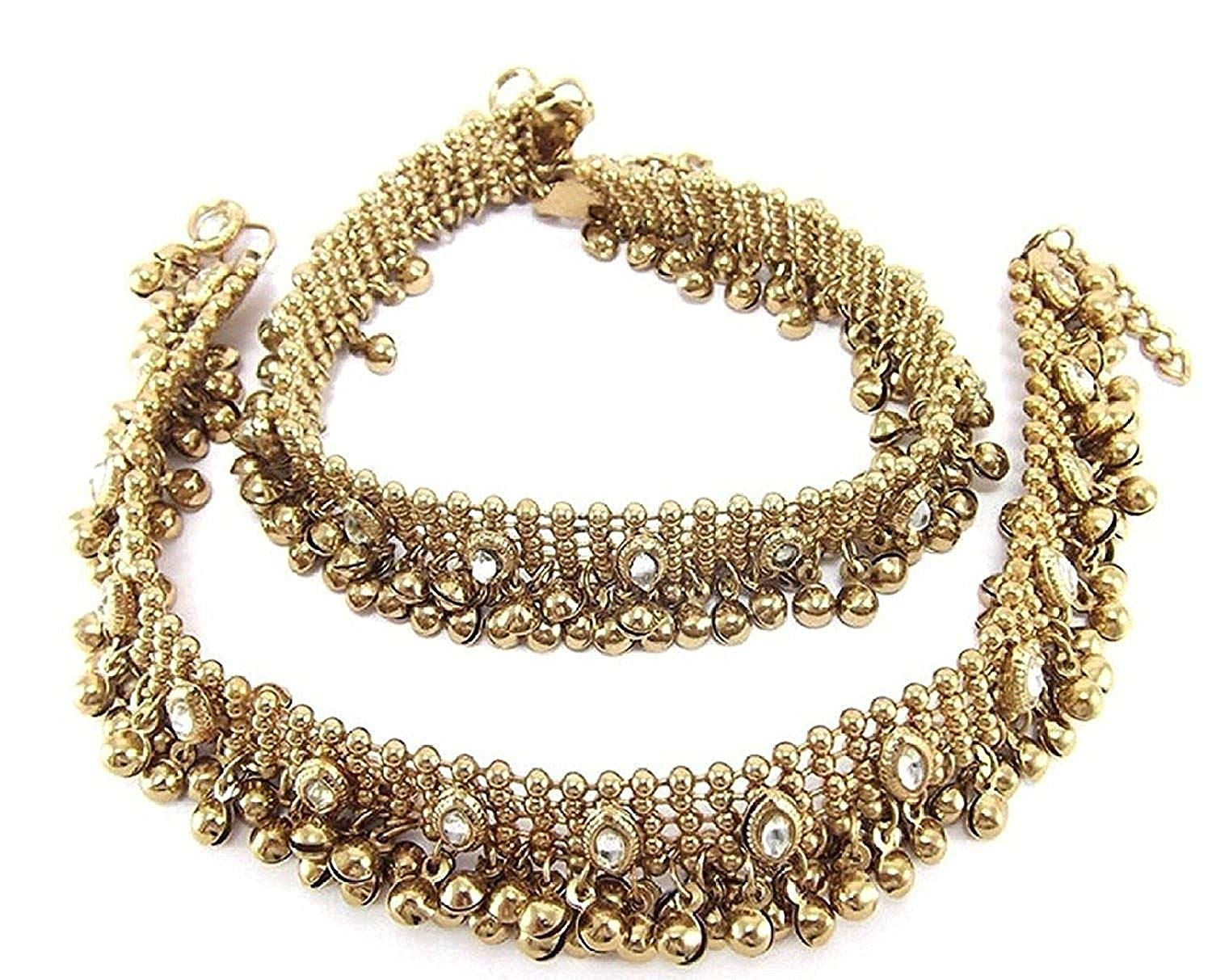 Charms Golden Ethnic Antique Kundan Studded Alloy Anklet