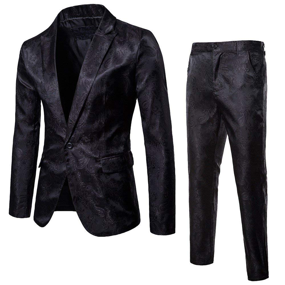 DondPO Slim Fit Men's Suit 2 Piece One Button Blazer & Trousers Suit Blazer Dress Business Wedding Party Jacket Coat Black