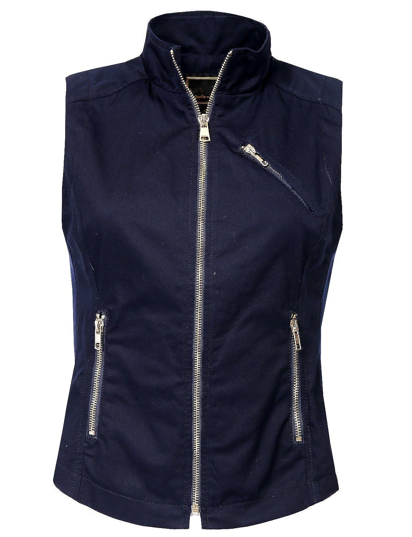 NE PEOPLE Womens Lightweight Sleeveless Short Anorak Style Vest NEWV1128-NAVY-M