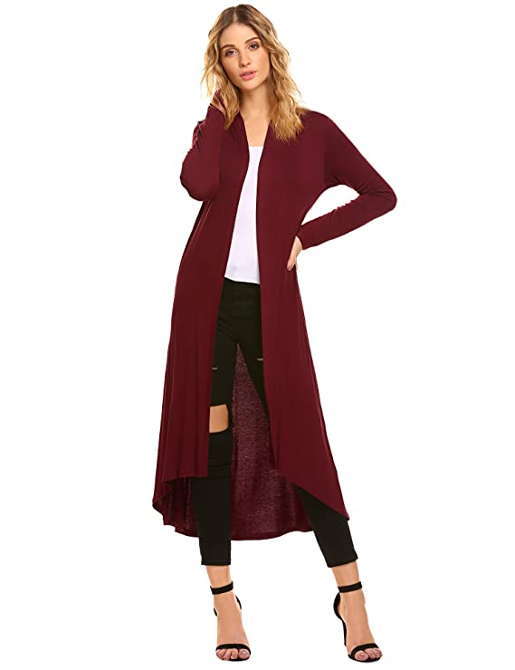 POGTMM Women's Long Open Front Drape Lightweight Maix Long Sleeve Cardigan Sweater (US S (4-6), Wine Red)