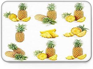 Modern Doormat Non-Slip Indoor Shoes Scraper Floor Mat 18 x 30 Inches, Sweet Pineapple Summer Fruit Illustration - Entrance Rug Door Mats for Bathroom/Kitchen/Bedroom