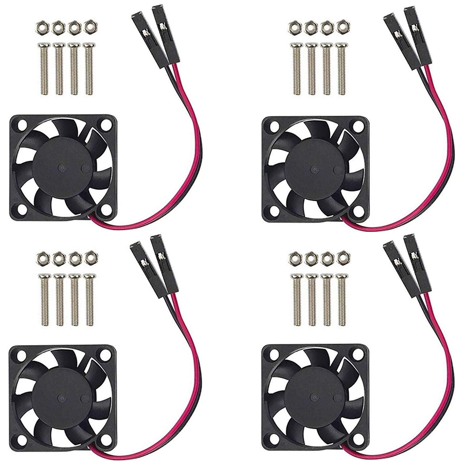 Aokin Raspberry Pi Fan, 4Pcs Raspberry Pi Cooling Fan Brushless CPU Cooling Fan Heatsink Cooler Radiator Connector Separating One-to-Two Interface 3.3V 5V for Raspberry Pi4 Pi3 B+, Pi 3, Pi 2, Pi 1 B+