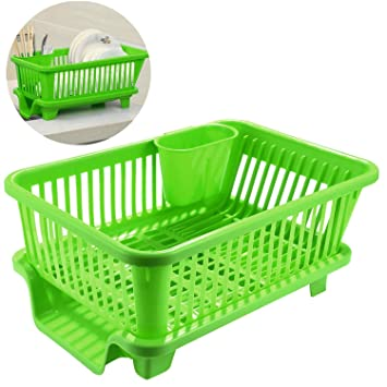 Lantusi 3 Piece Plastic Dish Rack With Drain Board, Ultra Sink Set With  Inclined