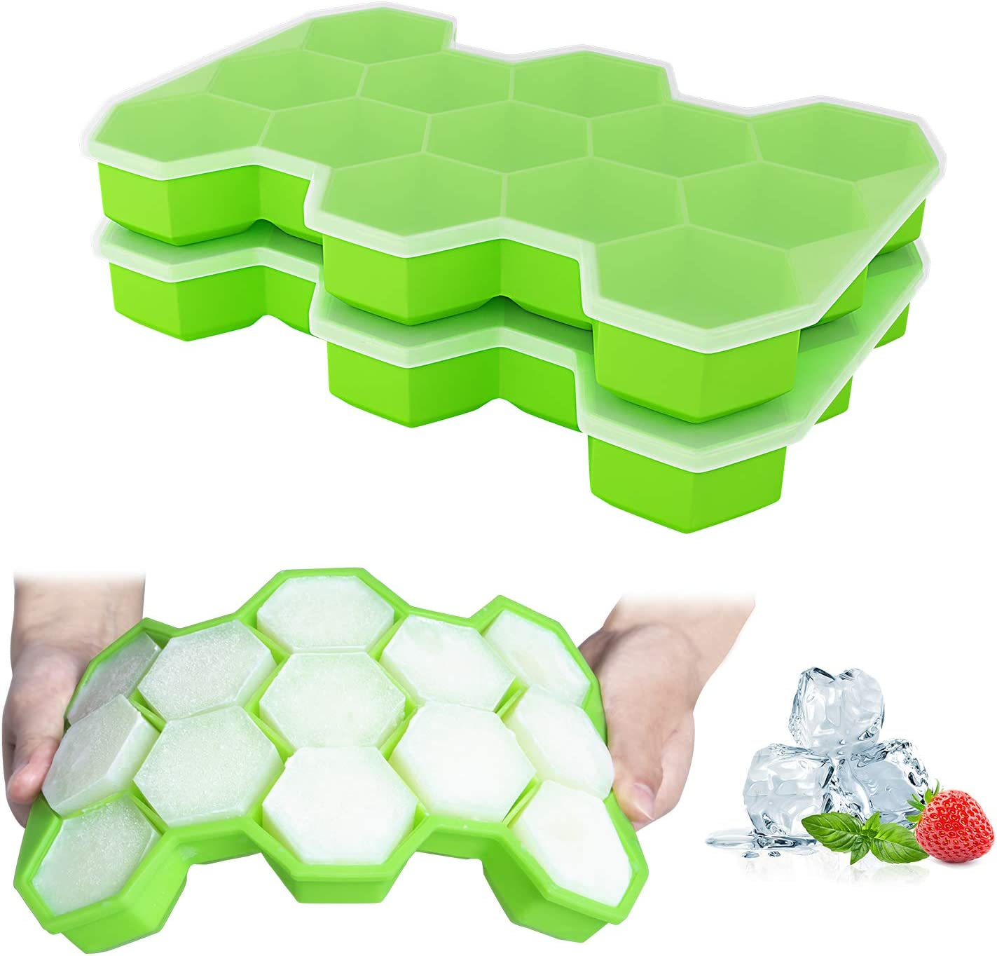 Ozera 2 Pack Silicone Ice Cube Trays Molds, 15 Cavities Ice Tray for Whiskey and Cocktail (Green)