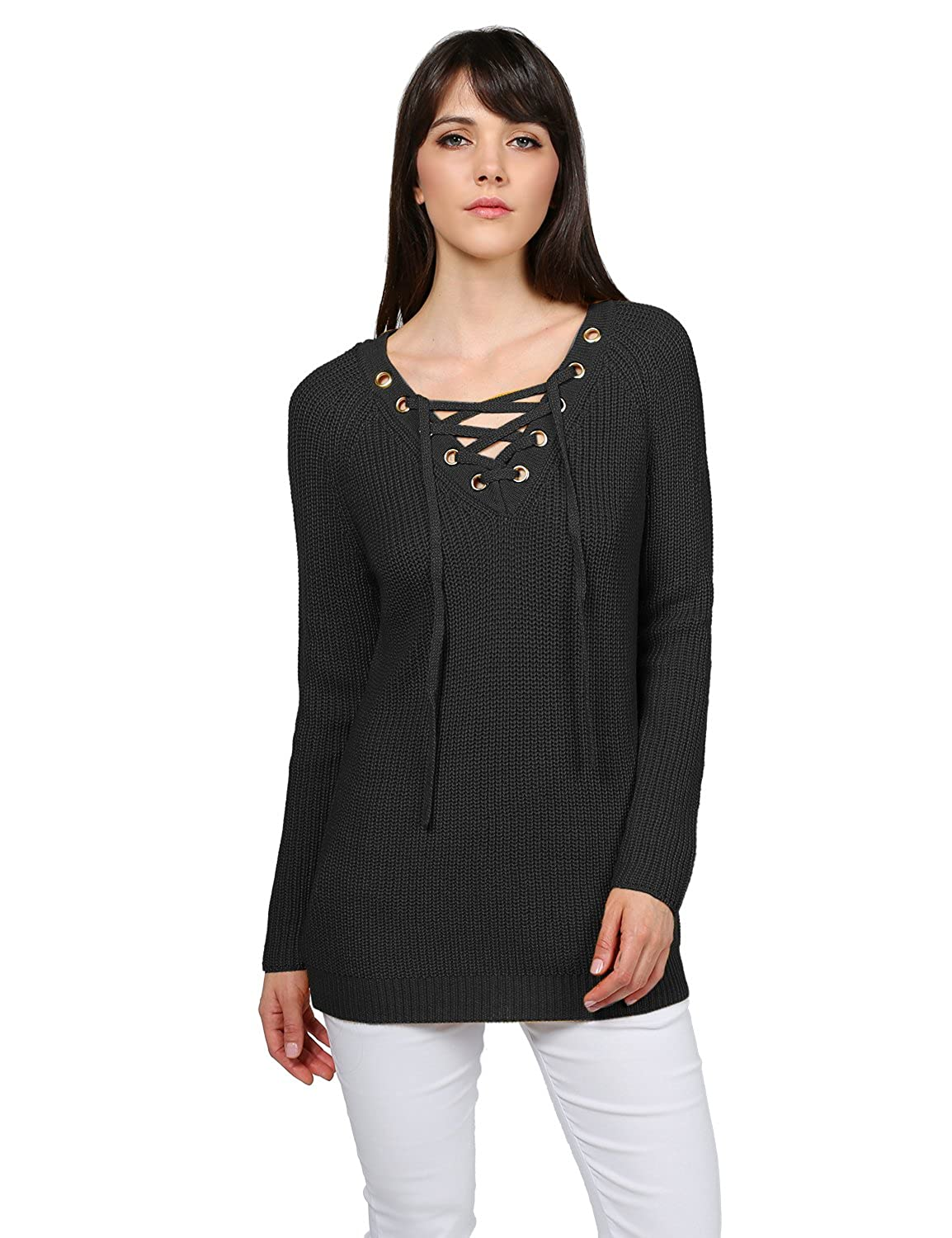 cd4c358084 Made by Emma MBE Women s Casual Solid Raglan Long Sleeve Lace up Front V-Neck  Knit Sweater at Amazon Women s Clothing store