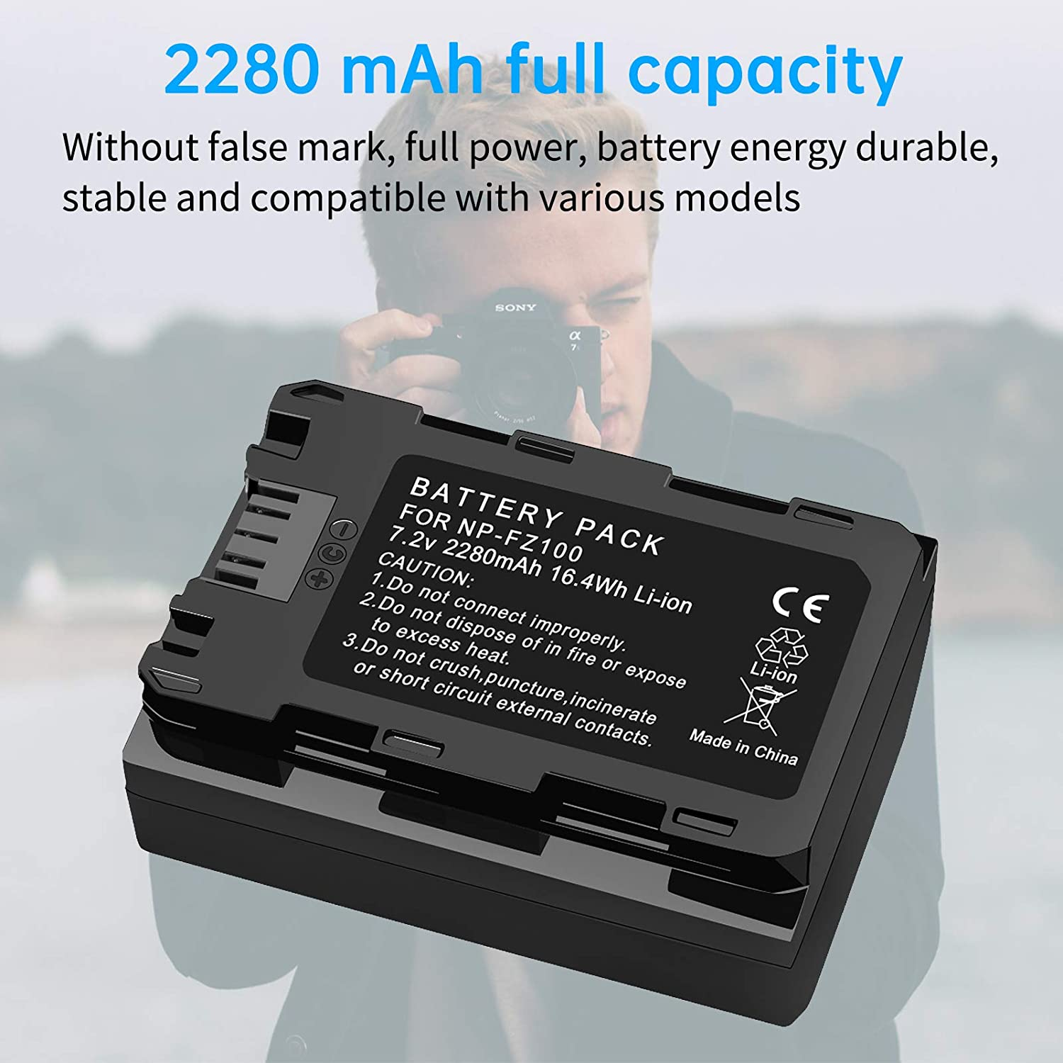 A7RIII XINGWEI NP-FZ100 Camera Battery Charger for Sony NP-FZ100 and Sony Alpha 9 a7 III Digital Camera Batteries A9 A7R3 A9S Alpha 9R Alpha 9S A9R
