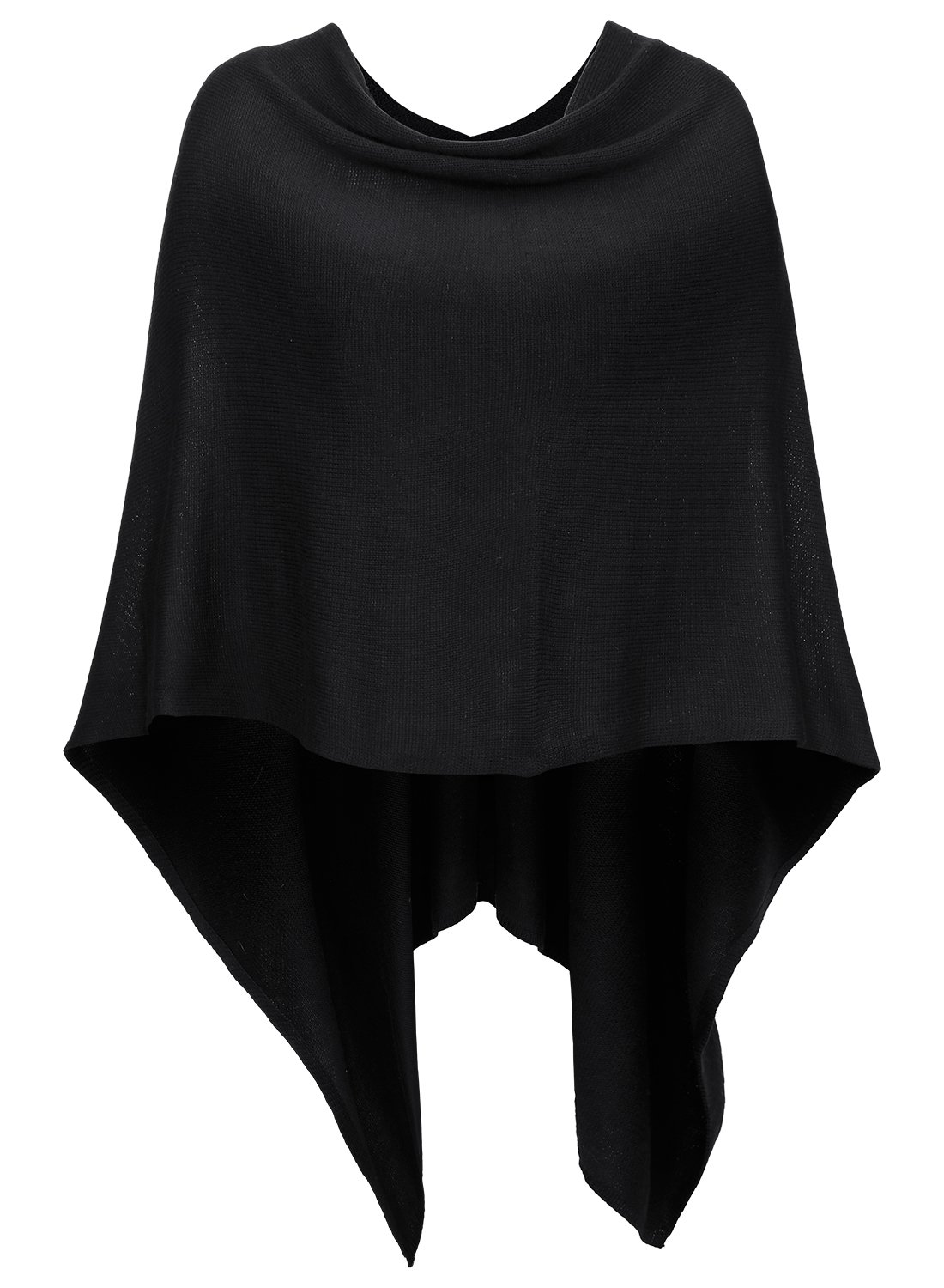 DJT Womens Solid Knit Short Asymmetric Wrap Poncho Topper Black