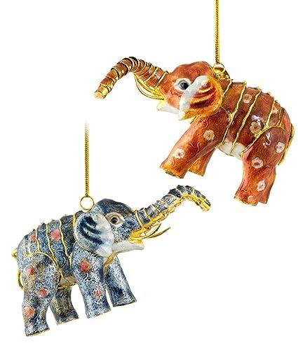 Christmas Ornaments, 2 Piece Set Cloisonne Aticulate Elephant Ornament - Amazon.com: Christmas Ornaments, 2 Piece Set Cloisonne Aticulate