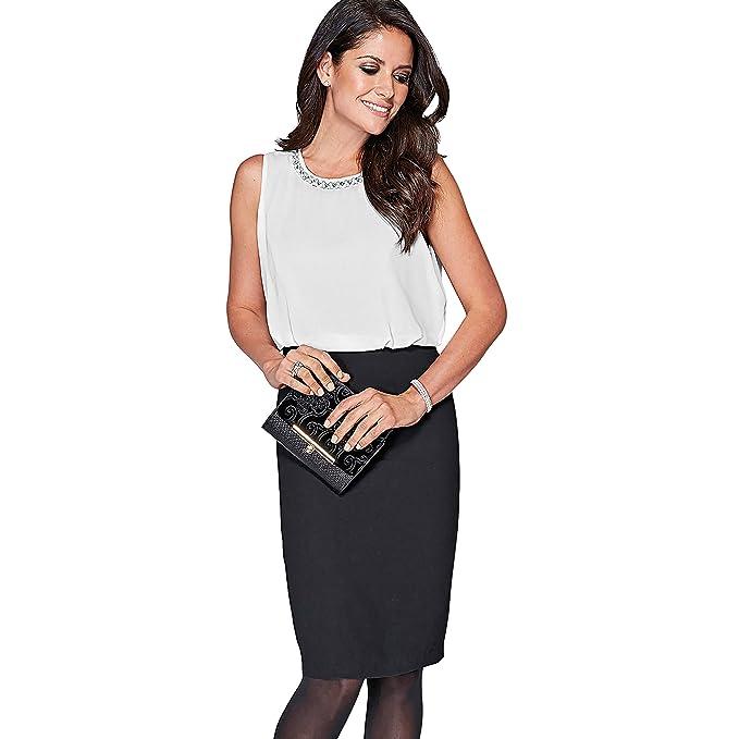 VENCA Vestido pedrería en el Escote con Efecto Collar Mujer by Vencastyle - 007428,Crudo