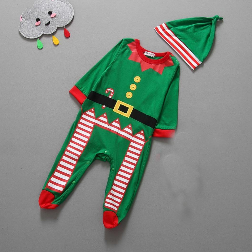6f12ca616edeb Internet 2 PCs Bébé Garçon Filles Père Noël Déguisement Grenouillère  Barboteuse + Casquette Cosplay Combinaison Pyjama