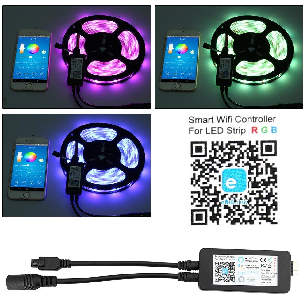 Guaiboshi Tira LED 5M Tiras de Luz Inteligente Impermeable con Wifi Controlador con Amazon Alexa Echo, Google Home, Luces LED 150Leds SMD 5050 Kit para iOS y Android Smartphones