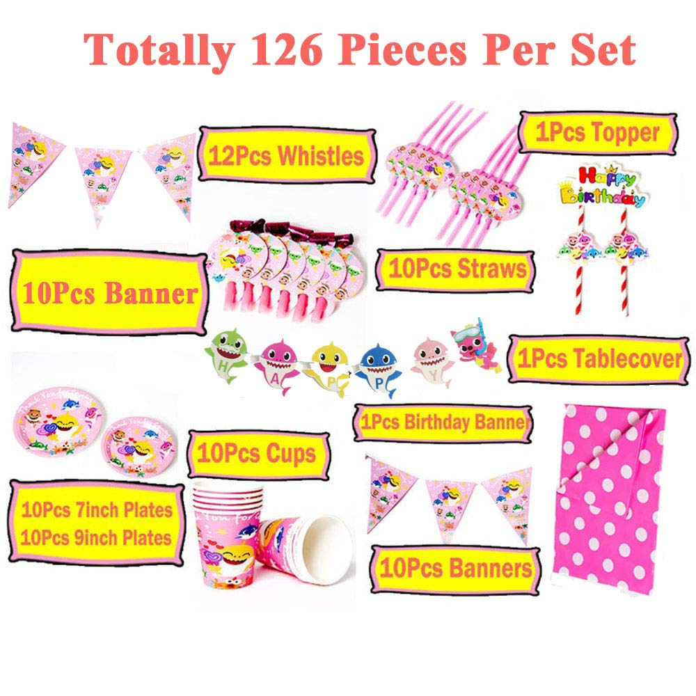 Baby Shark Party Favor Gift Bags,Dessert Plates,Table Cover,Banner,Hanging Decorations,Straws Supplies Decorations 126Pcs Baby Shark Party Supplies Set Kids Birthday Party Decorations