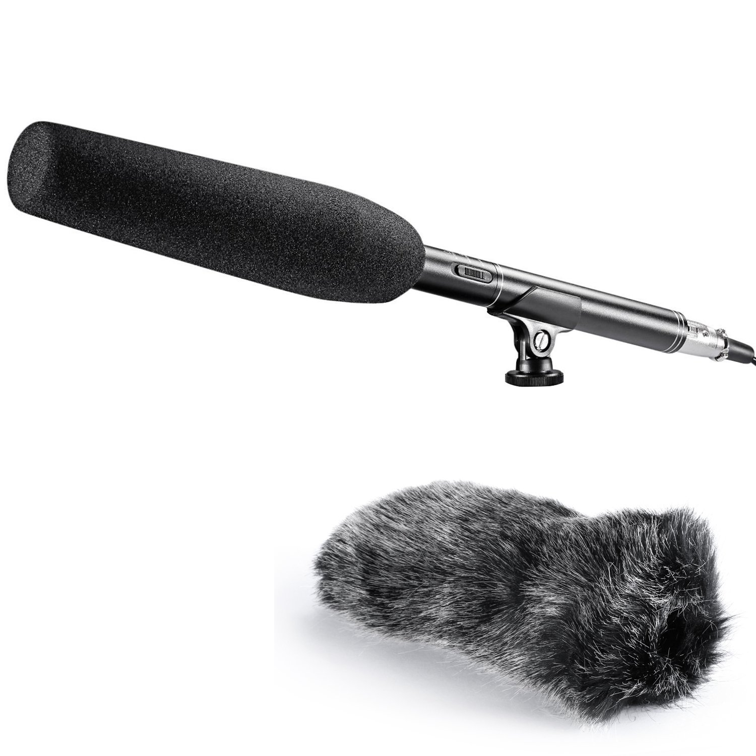 Neewer Uni-Directional Mono Shotgun Condenser Microphone 10.47 inches/26.6 centimeters with Mic Holders,Anti-Wind Foam Cap,XLR Cable and Furry Windscreen Muff for Canon Nikon DSLR and Video Camcorders