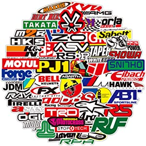 Laptop Sticker Car & Moto Brand Logo Sticker Pack (100 pcs) Vinyl Stickers for Skateboard, Bike, Luggage, Graffiti Decal for Family, Friends, Children, Adults-Waterproof